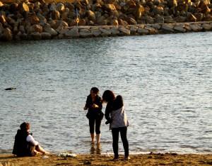 浜辺に遊ぶ