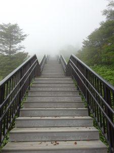 霧降高原小丸山展望台への階段