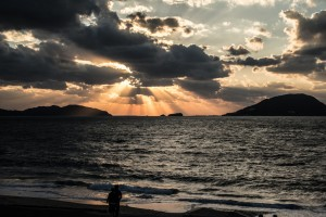 玄界灘の夕陽
